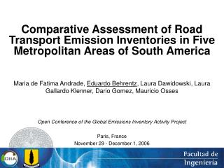Comparative Assessment of Road Transport Emission Inventories in Five Metropolitan Areas of South America