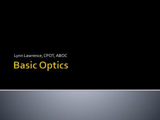 Basic Optics