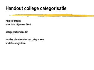 Handout college categorisatie
