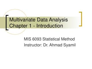 Multivariate Data Analysis Chapter 1 - Introduction