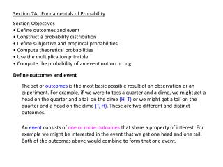 Section 7A:  Fundamentals of Probability