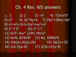 Ch. 4 Rev. WS answers