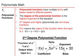 1.   Polynomial Functions