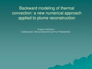 Backward modeling of thermal convection: a new numerical approach applied to plume reconstruction