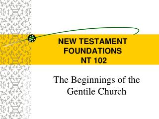 NEW TESTAMENT FOUNDATIONS  NT 102