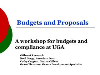 Budgets and Proposals