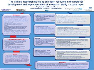 The Clinical Research Nurse as an expert resource in the protocol development and implementation of a research study   a