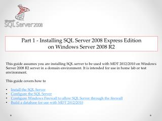 Part 1 - Installing SQL Server 2008 Express Edition  on Windows Server 2008 R2