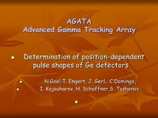 AGATA Advanced Gamma Tracking Array