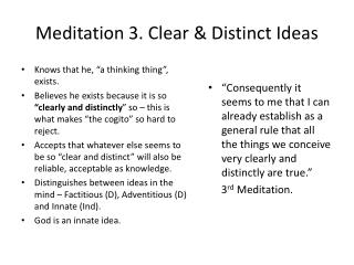 Meditation 3. Clear & Distinct Ideas