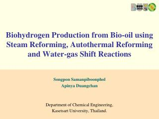 Songpon Samanpiboonphol Apinya Duangchan Department of Chemical Engineering,