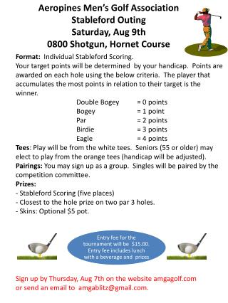 Aeropines Men's Golf Association   Stableford Outing Saturday, Aug  9 th