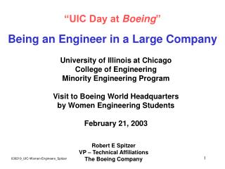 """UIC Day at  Boeing "" Being an Engineer in a Large Company"