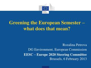 Greening the European Semester – what does that mean?