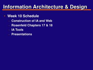 Information Architecture & Design
