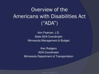 "Overview of the  Americans with Disabilities Act (""ADA"")"