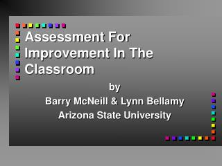 Assessment For Improvement In The Classroom