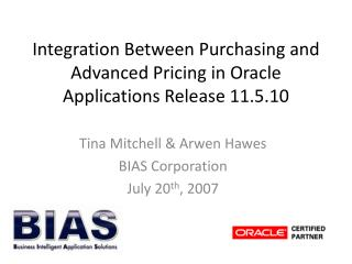 Integration Between Purchasing and Advanced Pricing in Oracle Applications Release 11.5.10