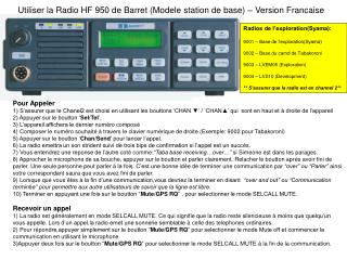 Utiliser la Radio HF 950 de Barret (Modele station de base) – Version Francaise