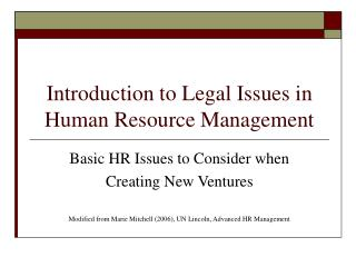 Introduction to Legal Issues in Human Resource Management