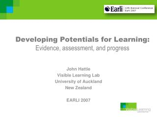 Developing Potentials for Learning: Evidence, assessment, and progress