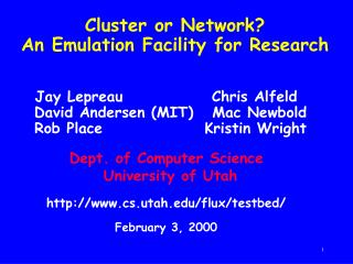 Cluster or Network? An Emulation Facility for Research