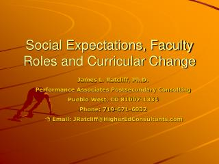 Social Expectations, Faculty Roles and Curricular Change