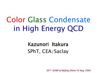 Color Glass Condensate in High Energy QCD