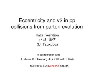Eccentricity and v2 in pp collisions from parton evolution