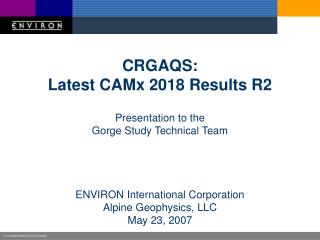 CRGAQS: Latest CAMx 2018 Results R2