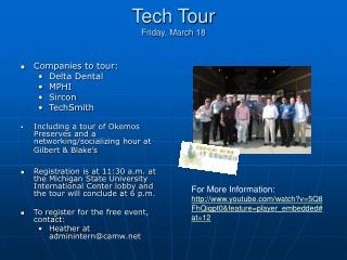 Tech Tour  Friday, March 18