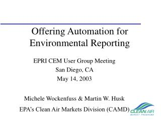 Offering Automation for Environmental Reporting