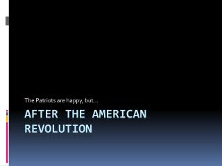 After the American Revolution