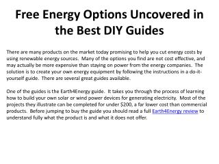 Free Energy Options Uncovered in the Best DIY Guides