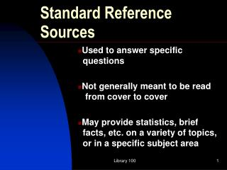 Standard Reference Sources