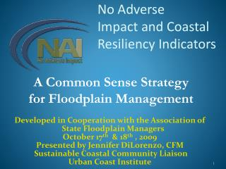 No Adverse  Impact and Coastal Resiliency Indicators