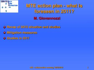 MTE action plan - what is foreseen in 2011?
