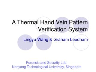 A Thermal Hand Vein Pattern Verification System