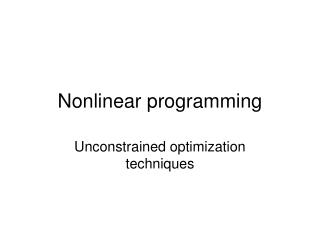 Nonlinear programming