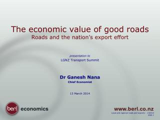 The economic value of good roads Roads and the nation's export effort