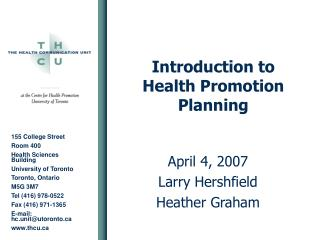 Introduction to Health Promotion Planning