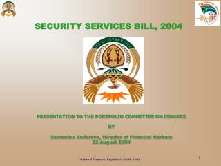 SECURITY SERVICES BILL, 2004