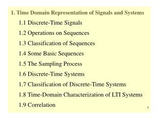 1. Time Domain Representation of Signals and Systems       1.1 Discrete-Time Signals