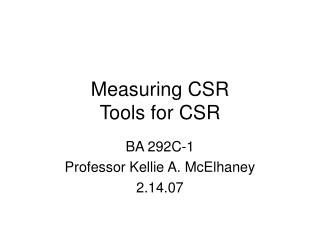Measuring CSR Tools for CSR