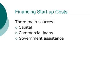 Financing Start-up Costs
