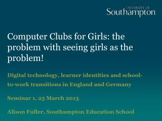 Computer Clubs for Girls: the problem with seeing girls as the problem!