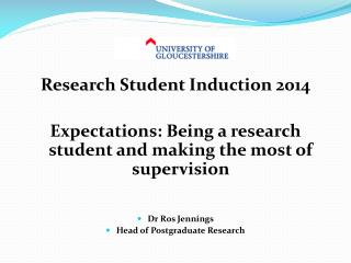 Research Student Induction 2014
