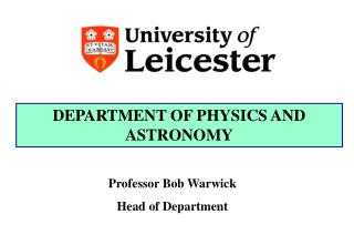 DEPARTMENT OF PHYSICS AND ASTRONOMY