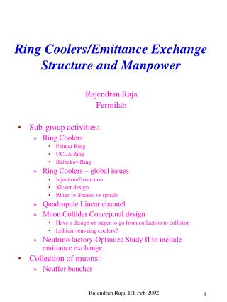 Ring Coolers/Emittance Exchange Structure and Manpower