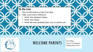 Welcome Parents